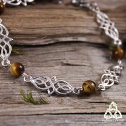 Bijou bracelet médiéval elfique Deannel entrelacs celtiques infinis argenté pierre Oeil de Tigre brun