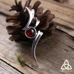 Pendentif légère fine volute elfique Argent massif et pierre Grenat rouge foncé féerique gothique art déco