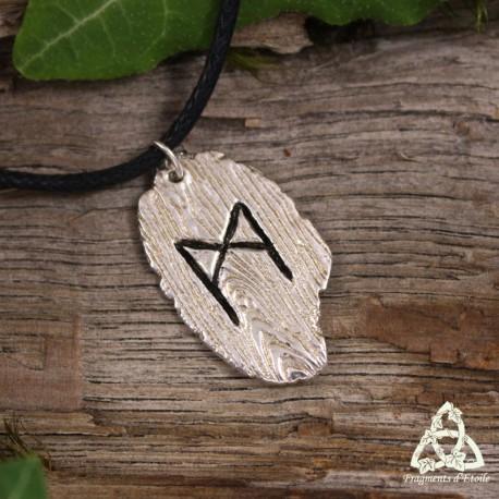Collier celtique viking Rune Mannaz en Argent massif texture bois pièce unique artisanal, pendentif nordique