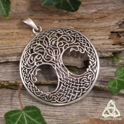 Pendentif Grand Arbre de Vie Yggdrasil entrelacs celtiques fins Argent massif tresse et feuilles elfiques
