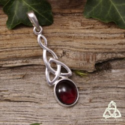 Pendentif celtique Triquetra noeud infini Argent massif et pierre fine naturelle Grenat rouge foncé médiéval ésotérique sorcière