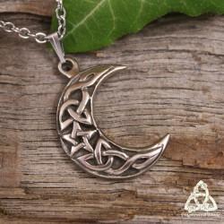 Collier magique croissant de lune entrelacs celtiques et pentacle de sorcière argenté