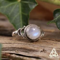 Bague magique féerique Clair de Lune Labradorite blanche reflet bleu argent massif taille 53 pierre lune arc-en-ciel