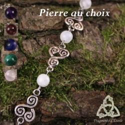 Bracelet celtique Triskel spirales volutes argenté et Pierre gemme fine naturelle médiéval féerique
