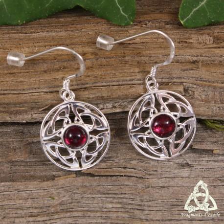 Boucles d'oreilles noeud celtique rondes en Argent massif entrelacs Triquetra ajourés Pierre fine Grenat rouge