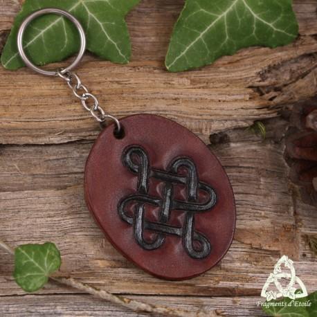 Porte Clés en cuir repoussé brun Noeud celtique infini noir, noeud de Siddhe médiéval féerique anneau acier inoxydable