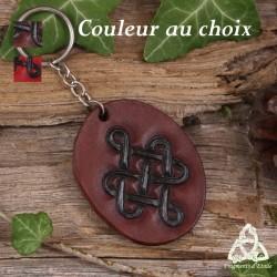 Porte Clés en cuir repoussé rouge ou brun Noeud celtique infini noir, noeud de Siddhe médiéval féerique anneau acier inox