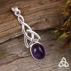 Pendentif noeud celtique triquetra Argent massif ajouré et cabochon en pierre fine Améthyste violet féerique médiéval elfique