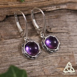 Boucles d'oreilles féeriques Art Nouveau tiges épines de Rose en Argent massif entrelacées autour d'une Améthyste violet clair