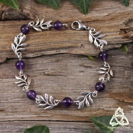 Bracelet féerique petites Feuilles Elfiques argentées et perles en pierre naturelle Améthyste violet foncé médiéval Art Nouveau