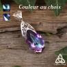 Pendentif féerique Larme goutte de Cristal bleu vitrail ou violet mauve et volutes elfiques art nouveau en Argent massif 925