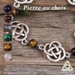 Bracelet médiéval féerique Noeuds celtiques rond argentés pierre fine gemme naturelle magie ésotérique