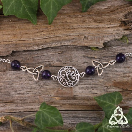 Tiare féerique médiévale Kalya volutes elfiques et Triquetra noeud celtique bijou de front art nouveau Améthyste violet
