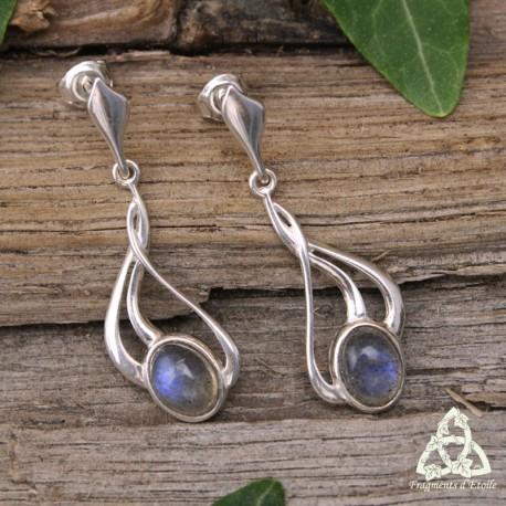 Boucles d'oreilles féeriques Art Nouveau Argent massif et Labradorite, bijou artisanal médiéval elfique volutes entrelacs
