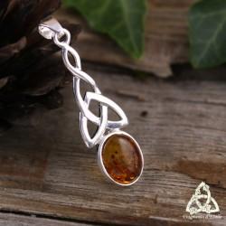 Pendentif noeud celtique Triquetra Argent massif 925 et Ambre véritable bijou médiéval féerique entrelacs ajourés fait main