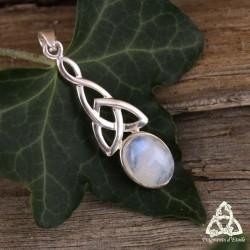Pendentif elfique noeud celtique Triquetra Argent et Pierre Lune arc-en-ciel reflet bleu Labradorite blanche mariage médiéval
