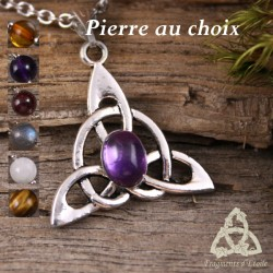Collier Keryan Triquetra Celtique - Pierre naturelle