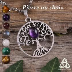 Collier celtique Yggdrasil Arbre de Vie argenté style médiéval nordique féerique Pierre gemme naturelle