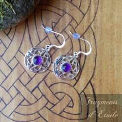 Boucles d'oreilles Morgana Argent massif - Améthyste