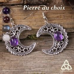 Boucles d'oreilles féeriques croissant de Lune aux volutes argentées et pierre gemme naturelle