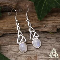 Boucles d'oreilles neoud celtique en Argent massif et pierre gemme naturelle Labradorite blanche aux reflets bleu