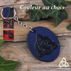 Porte-Clés médiéval en cuir repoussé noeud celtique Triquetra fait-main