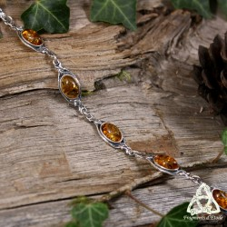 Bracelet féerique et Art Nouveau en Argent massif et Ambre orné de volutes végétales