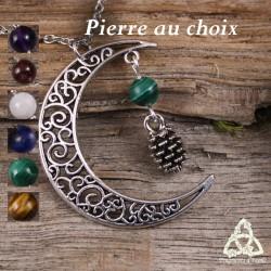 Collier féerique croissant de Lune et Pomme de Pin argenté pierre fine gemme naturelle médiéval art nouveau