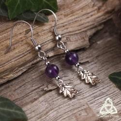 Boucles d'oreilles petites feuilles de chêne argentées et Améthyste naturelle violette