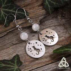 Boucles d'oreilles chat en acier inoxydable et Péristérite (Labradorite blanche, Pierre lune arc-en-ciel)