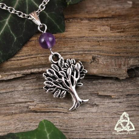 Collier médiéval féerique fait main orné d'un arbre argenté et d'une Améthyste naturelle violette