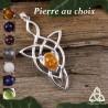 Pendentif elfique féerique entrelacs longs en Argent massif 925 et pierre naturelle pour un bijou médiéval