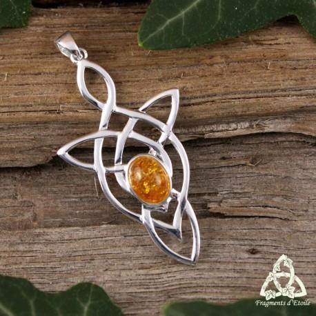 Pendentif elfique féerique entrelacs longs en Argent massif 925 et Ambre véritable pour un bijou médiéval