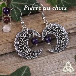 Boucles d'oreilles féeriques croissant de Lune volutes elfiques argenté ajouré médiéval celtique Améthyste Grenat Quartz Rose