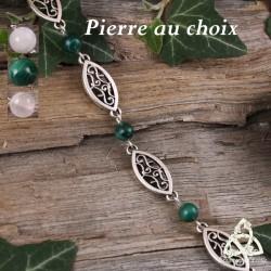 Bracelet médiéval fin orné de volutes elfiques en forme de navettes entourées de perles en pierre gemme naturelle