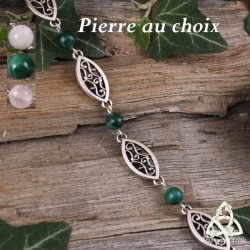 Bracelet Astérya navettes et volutes - Pierre naturelle