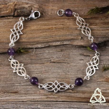 Bijou bracelet médiéval elfique Deannel entrelacs celtiques infinis argenté pierre naturelle Améthyste violette.