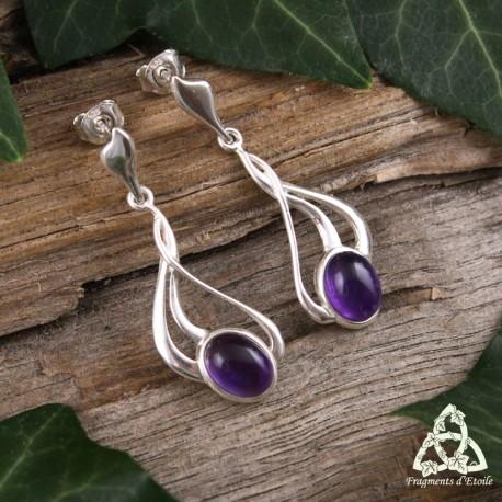 Boucles d'oreilles féeriques et Art Nouveau en Argent massif et Améthyste naturelle violet foncé.