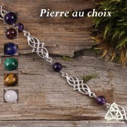 Bijou bracelet médiéval elfique Deannel entrelacs celtiques infinis argenté et pierre fine naturelle.