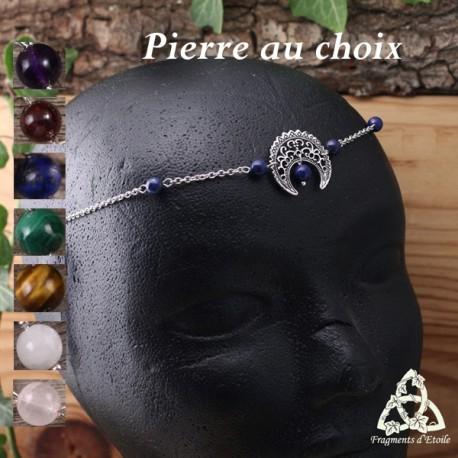 Tiare médiévale, bijou de front, ornée d'un croissant de lune argenté et pierre fine naturelle.