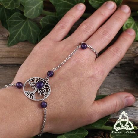 Bracelet de main médiéval féerique orné d'un Arbre de Vie celtique argenté et de pierres fines Améthyste violet foncé