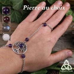 Bracelet de main médiéval féerique orné d'un Arbre de Vie celtique argenté et de pierres fines ou gemmes naturelles