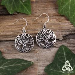 Boucles d'oreilles celtiques Arbre de Vie orné de volutes en Argent massif. Bijou médiéval féerique et ésotérique.
