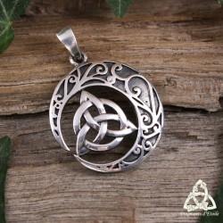 Pendentif médiéval en argent pour sorcière orné d'un Croissant de Lune et d'une Triquetra celtique