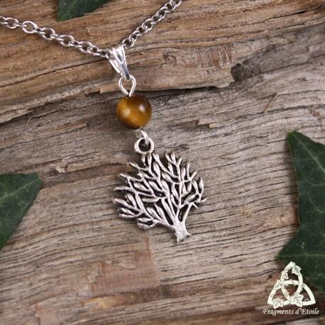 Collier féerique Arbre des Celtes argenté et perle en pierre gemme Oeil de Tigre brun chatoyant. Bijou de créateur fait-main.