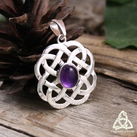 Pendentif médiéval et entrelacs celtiques en Argent massif et pierre naturelle Améthyste violette