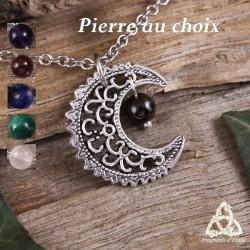Collier féerique croissant de lune magique argenté perle grenat améthyste quartz rose sorcière gothique