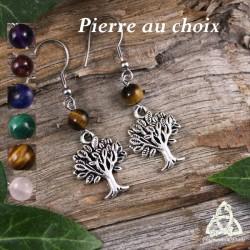 Boucles d'oreilles féeriques ornées  d'un Arbre argenté au beau feuillage surmonté d'une perle en Pierre gemme naturelle.
