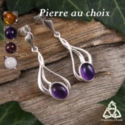 Boucles d'oreilles féeriques et Art Nouveau en Argent massif et pierre fine naturelle.