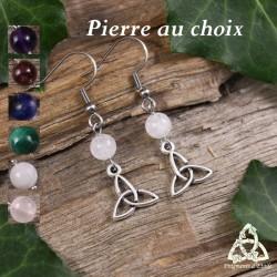 Boucles d'oreilles noeud celtique Triquetra triangle argenté et perle en Pierre fine naturelle féerique médiéval sorcière